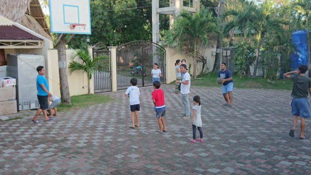 playing in Deti's garden